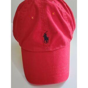 Polo Ralph Lauren Red Cap Hat Blue Pony Logo Adj-s